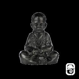 Statue Jeune moine assis noire - H 25cm
