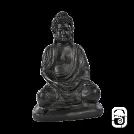 Statue Bouddha sur socle béton ciré noir - H 38cm