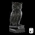 Chouette sur Livre béton ciré noir - H 36cm