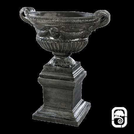 Vase renaissance sur base ton noir ciré