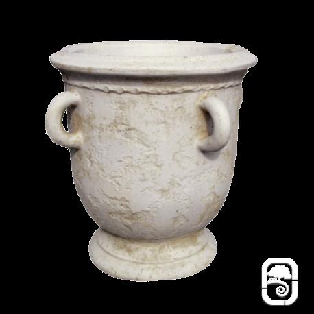 Pot ancien avec anse ton pierre vieillie