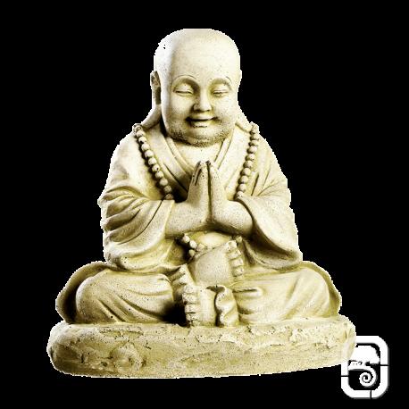 Statue patinée moine assis - H 36cm
