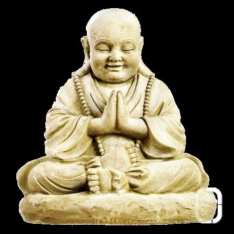 Statue patinée grand moine assis - H 55cm