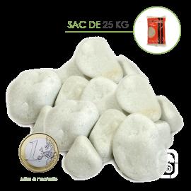 Galets de Marbre Blanc Carrare 25/40 - sac 25 Kg