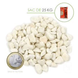 Gravier Marbre Blanc Pur Carrare 8/12 - sac 25 Kg