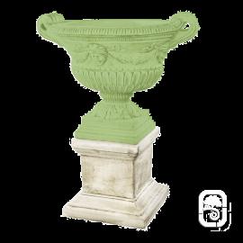 Base carrée Renaissance ton pierre vieilli - H 38cm