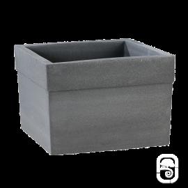 Pot carré Azalée béton pressé anthracite - 40cm