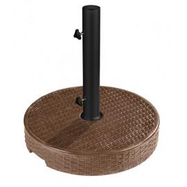 Pied de parasol rond imitation bois aspect rotin