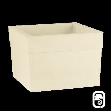 Pot carré Azalée béton pressé blanc - 40cm