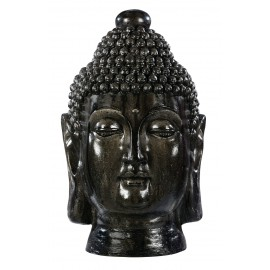 Statue Tête de Bouddha anthracite - H 42cm
