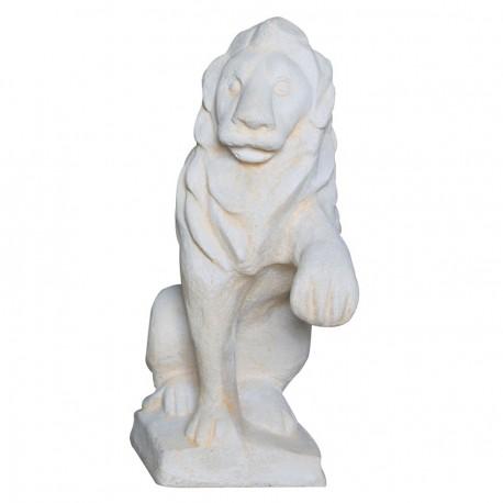 Lion assis regarde à gauche ton pierre vieillie - 40cm