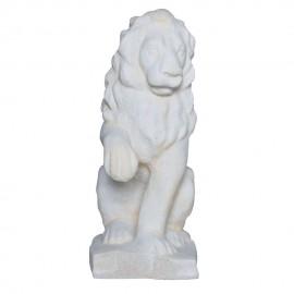 Lion assis regarde à droite ton pierre vieillie - 40cm