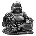 Statue Bouddha Chinois rieur ciré noir - H 35cm