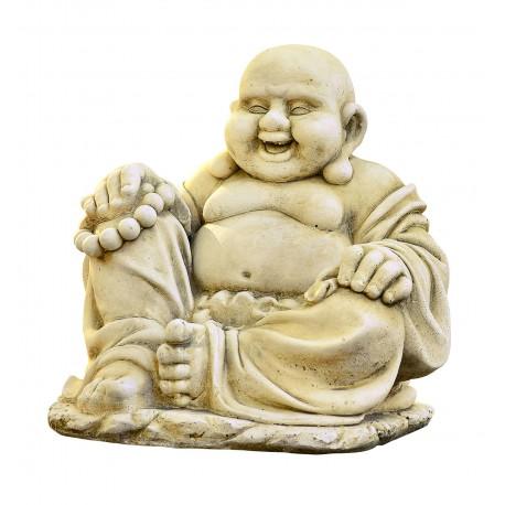 Statue Bouddha Chinois rieur ton vieilli - H 35cm