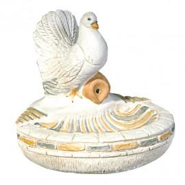 Colombe au bain ton pierre - H 28 cm