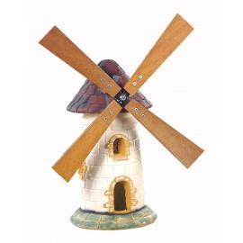 Moulin à roue en pierre vieilli au toit couleur tuile - H 56 cm