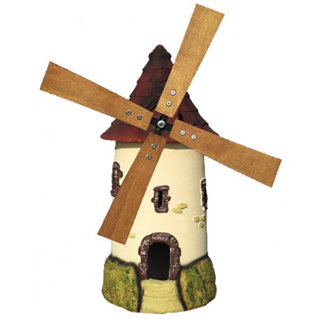 Moulin à roue ton crème au toit couleur tuile - H 72 cm