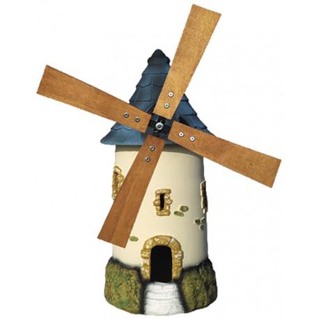 Moulin à roue ton crème au toit couleur ardoise - H 72 cm