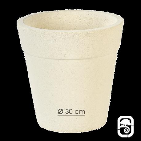 Pot 263 béton pressé blanc - Ø 30cm
