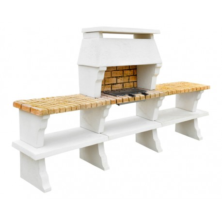 BARBECUE DECO HOTTE XLARGE + 2 TABLES TON BLANC