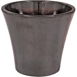 Blagnac en terre cuite émaillé noir mordoré - ø 34cm