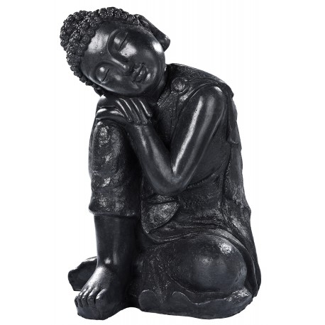 Statue Bouddha penseur béton ciré noir - H 58 cm