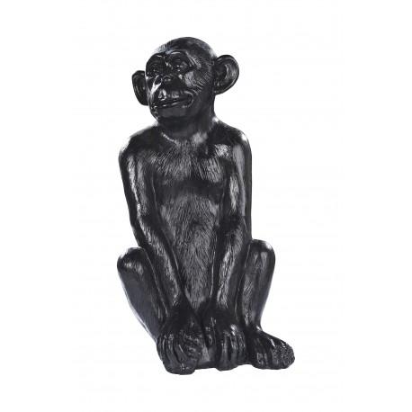 Statue singe béton ciré noir - H 55 cm