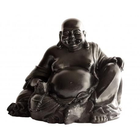 Statue mini Bouddha rieur ciré noir - H 20 cm