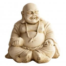 Statue mini Bouddha rieur ton pierre - H 20 cm