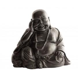 Statue mini Bouddha à la coupe ciré noir - H 15 cm