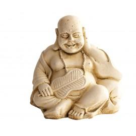 Statue mini Bouddha à la palme ciré noir - H 15 cm