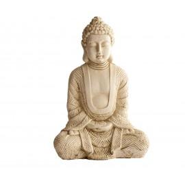 Bouddha Hindou Assis béton ciré noir - H 23 cm