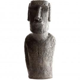 Tête Moaï ciré noir - H 12 cm