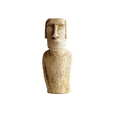 Buste Moaï ciré noir - H 40 cm