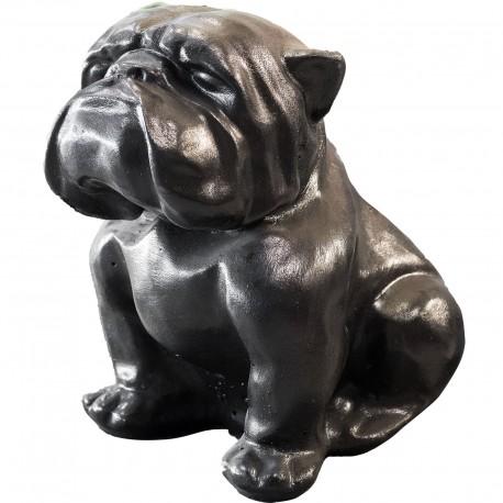 Statue Bouledogue assis béton ciré noir - H 43 cm