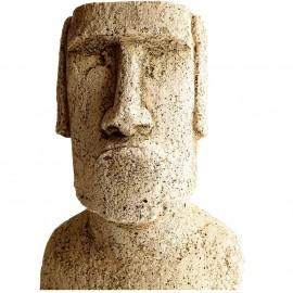 Buste Moaï ciré noir - H 26 cm