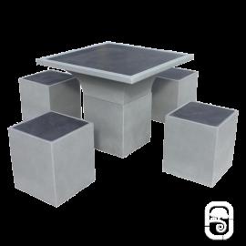 Salons de jardin tables et bancs en pierre reconstitu e - Salon de jardin en beton ...