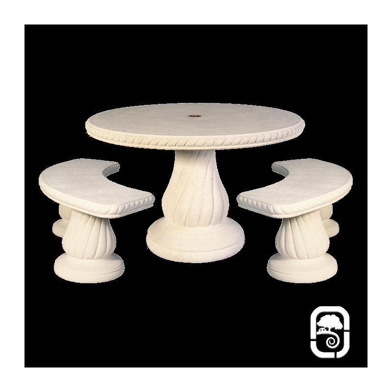 Salon de jardin en pierre 240 blanc - Table de jardin en pierre reconstituee ...