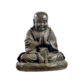 Statue moine assis en béton ciré noir - H 36cm