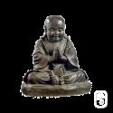 Statue moine assis béton ciré noir - H 36cm