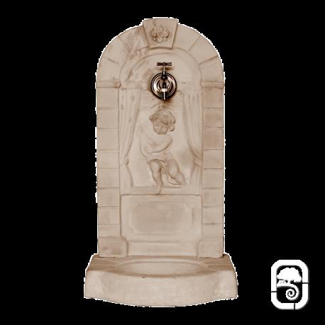 Fontaine murale aux angelots Pierre vieillie - H 82cm