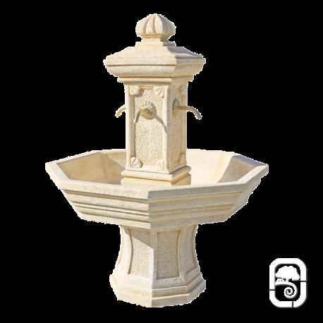 Fontaine centrale Adonis pierre ocre H 155cm - Jardinoa.fr