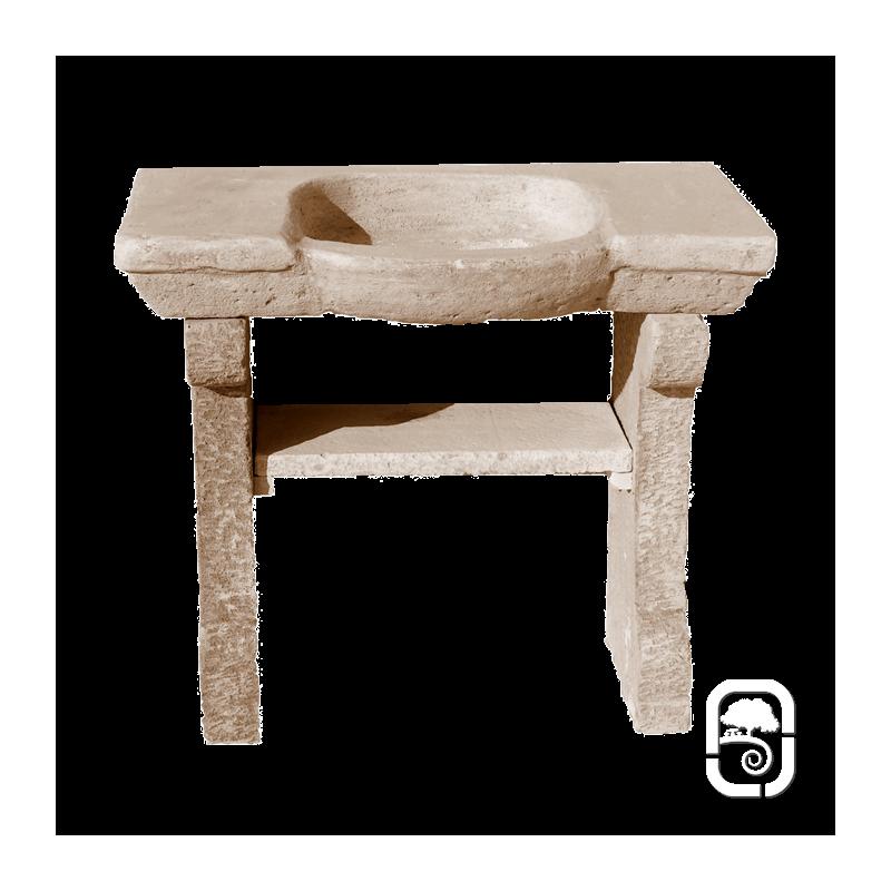 vier rond sur pieds 1900 en pierre ton vieilli. Black Bedroom Furniture Sets. Home Design Ideas
