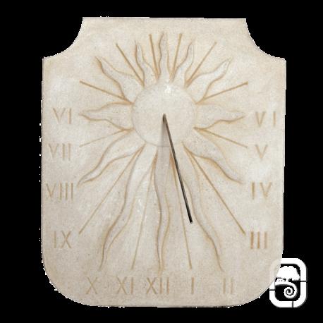 Cadran solaire relief Soleil ton pierre vieillie