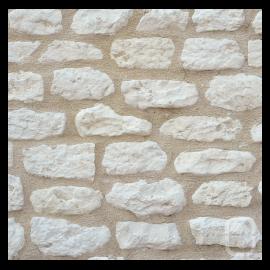 Petites pierres de parement Rustique ton blanc 1m²