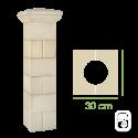 Élément de pilier rainuré ton pierre - 30cm