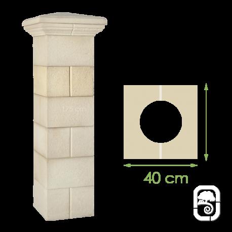 Élément de pilier rainuré ton pierre - 40cm