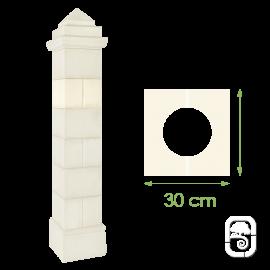 Élément de pilier rainuré ton blanc - 30cm