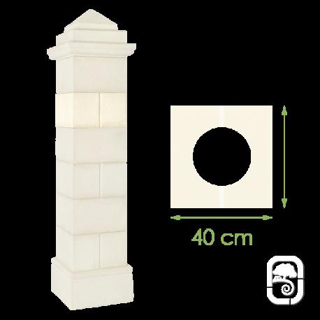Élément de pilier rainuré ton blanc - 40cm