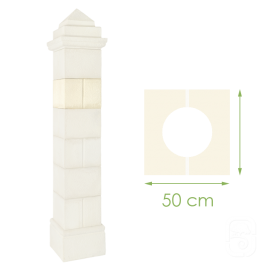 Élément de pilier rainuré ton blanc - 50cm